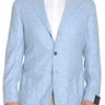 Sartoria Partenopea 40R Light Blue Check Half Lined Wool Sportcoat With Patch Pockets