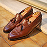 "*SOLD* - LÖF & TUNG ""ALVARES"" TASSEL LOAFER IN CHESTNUT CALF SIZE UK 8.5"