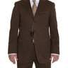 PRICE DROP Sartoria Partenopea 42L 52T Brown / Green Twill Cotton Cashmere Suit With Patch Pockets