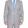 Sartoria Partenopea 40R 50 Light Gray Pinstriped Wool Silk Suit With Peak Lapels