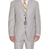 Sartoria Partenopea 40R 50 Gray Striped Wool Suit With Flat Front Pants