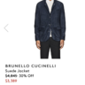 NWT Brunello Cucinelli Navy Suede Jacket XL / L - $5300 sold out at Barneys