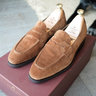 CARMINA - Simpson Snuff Suede Penny Loafer with Dainite Sole - UK 5.5