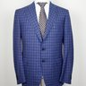 NWT $8995 CESARE ATTOLINI Gray-Blue Plaid Flannel Wool Suit US44/EU54 Drop 7R