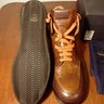 NIB Franceschetti Hand Patina Whisky Brown Leather High Top Sneakers 44