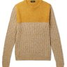 ZANONE Color-Block Cable-Knit Sweater Yak Wool Yellow IT50/M-L