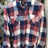 RRL Navy red white twill shirt sz M