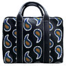 PAUL SMITH Leather Folio Bag Paisley-Embroidered Briefcase Handbag Blue
