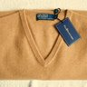 NWT Polo RL 100% Cashmere Smooth Jersey Knit V-Neck Sweater, Biscuit Brown, Size L