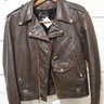 Vintage Small '70s brown perfecto style Lesco Leathers motorcycle cruiser