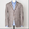 Raffaele Caruso brown plaid check linen sport coat EU54 US44
