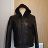 Schott, black leather jacket, size S, slim, with hood