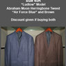 "2x J. Crew ""Ludlow"" Sportcoats █ Size 40R █ Blue and Brown Herringbone Wool-Cotton"