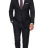 Suitsupply Sienna Black Plain Rare Super 150's Wool Suit: 40R