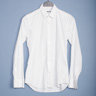 5 PCS. XACUS CHALK WHITE POPLIN DRESS SHIRTS SIZE 39 (TRUE FIT 38)