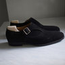 Saint Crispin's/The Armoury, black suede monk shoes, size 42EU