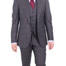 Cesare Attolini 38R Gray with Blue Windowpane 2-Button Three Piece Wool Blend Suit with Peak Lapels