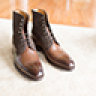 Carlos Santos Oak Calf and Mink Suede Field Boot 9 UK Style 9156 Like New