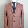 NWT SANTARELLI SARTORIA & PATOS Red Houndstooth Wool Blend Blazer EU50/US38 40