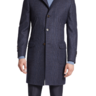 New Brunello Cucinelli 40/50/M full length navy blue plaid wool coat jacket