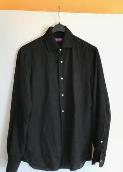 RALPH LAUREN PURPLE LABEL, BLACK LINEN SHIRT, SIZE S
