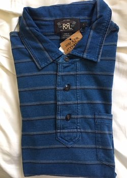 RRL Striped Indigo Polo shirt size Large BNWT