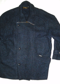 Austrian dark blue wool asymmetric jacket coat XXL