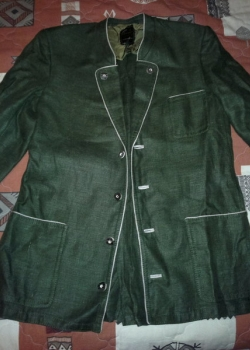 Mens green linen military blazer jacket trachten German L