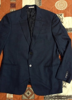 ARMANI Collezioni mens dark blue wool jacket blazer suit sport coat L