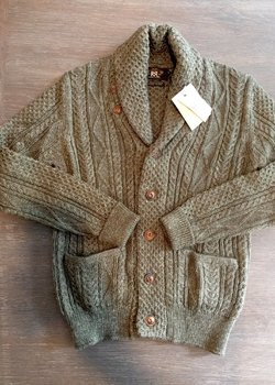 [SOLD] RRL Aran Cable Knit Shawl Collar Cardigan, Size M