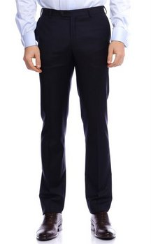 PAL ZILERI flat-front navy blue wool trousers - Size 32 US / 48 EU - NWT