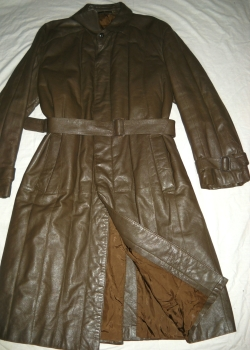 YVES SAINT LAURENT olive green leather trench coat XXL