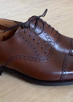 NEW J. Fitzpatrick Windermere Mocha Semi-Brogue Oxford UK 7.5