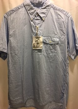 * SOLD * Engineered Garments Light Blue S/S Popover Shirt Size L, BNWT