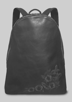 PAUL SMITH Black Leather Backpack Florian Embroidery