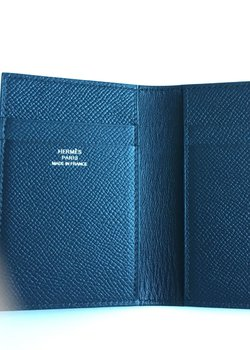 Drop 9/22:  NEW Hermes card case wallet Euclide in navy Epsom calf leather