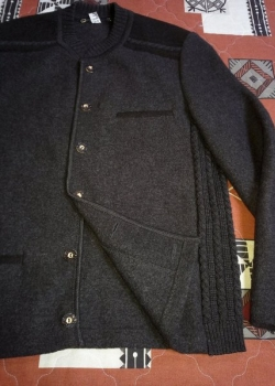 Austrian mens charcoal grey wool cardigan sweater L