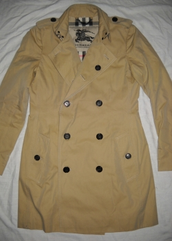 BURBERRY Chelsea beige double breasted military pea coat UK 8 S