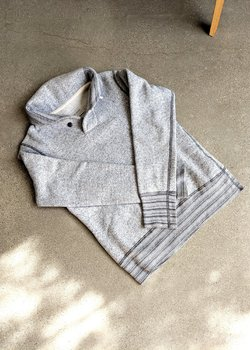Wings + Horns Shawl Collar Fleece Sweatshirt in Marled Grey - S