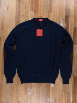 ISAIA navy blue cashmere sweater with suede elbow patches - Size Small - NWT