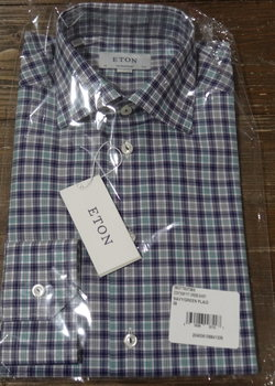 7/31 PRICE DROP! NWT Eton Contemporary Fit Navy/Green/White Check Shirts Sizes 15.5, 16, 17 Ret $265