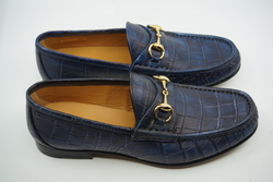 NEW GUCCI Alligator Loafer Antique Blue UK 4.5 US 5 EU 38.5 $2,600