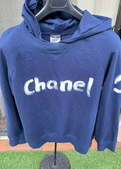 RARE MEN'S CHANEL PARIS NAVY BLUE HOODIE SWEATSHIRT SIZE LARGE
