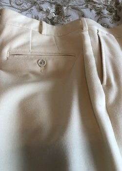 Hertling, cream winter white flannel trousers, slim fit 36/31.5, NWOT, spotless!