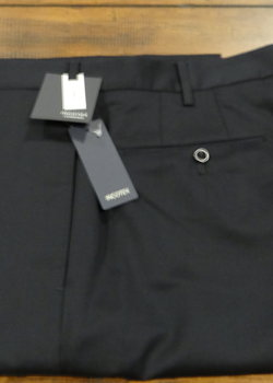 NWT Incotex Peter Super 100's Navy Blue Wool Flat Front Trousers Size 36