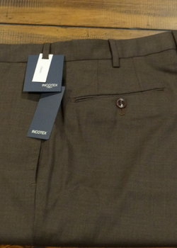 NWT Incotex Peter Super 100's Brown Wool Flat Front Trousers Size 36