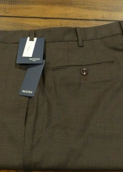 NWT Incotex Peter Super 100's Brown Wool Flat Front Trousers Size 34