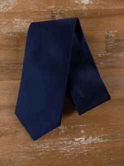 ISAIA Napoli 7-fold solid blue silk tie - NWOT
