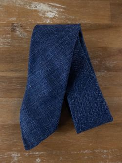 DRAKE'S of London blue self-tipped wool silk linen mix tie - NWOT