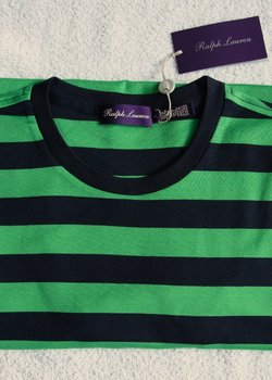 NWT $230 RLPL Size Large T-Shirt, Green And Blue Horizontal Stripes, 100% Cotton